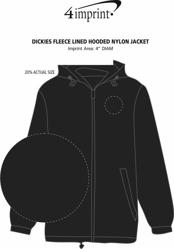 Imprint Area of Dickies Fleece Lined Hooded Nylon Jacket