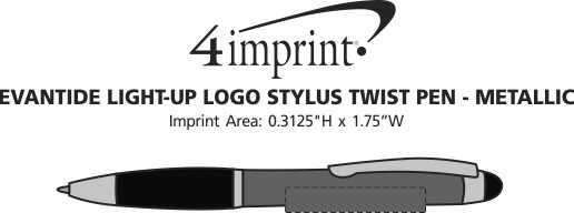 Imprint Area of Evantide Light-Up Logo Stylus Twist Pen - Metallic