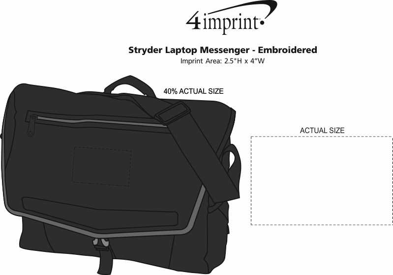 Imprint Area of Stryder Laptop Messenger - Embroidered