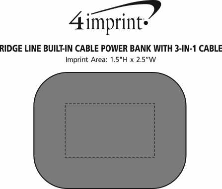 Imprint Area of Ridge Line Built-in Cable Power Bank with 3-in-1 Cable