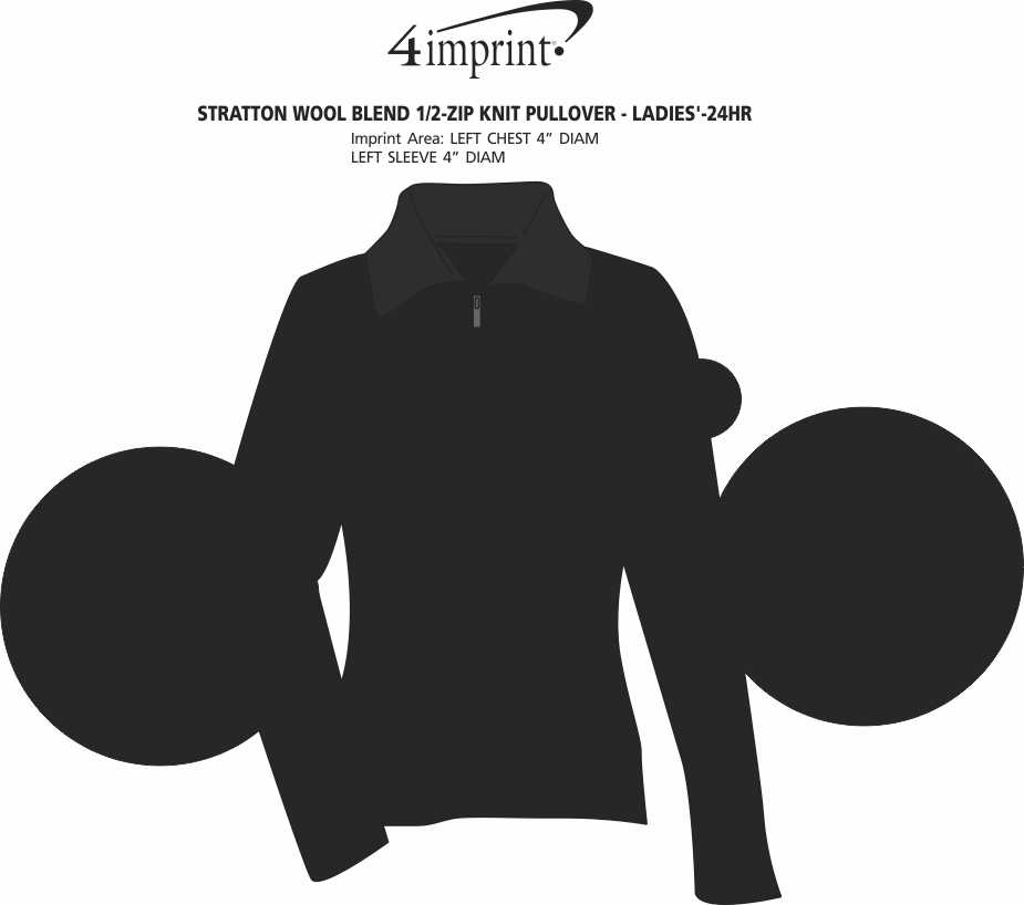 Imprint Area of Stratton Wool Blend 1/2-Zip Knit Pullover - Ladies' - 24 hr