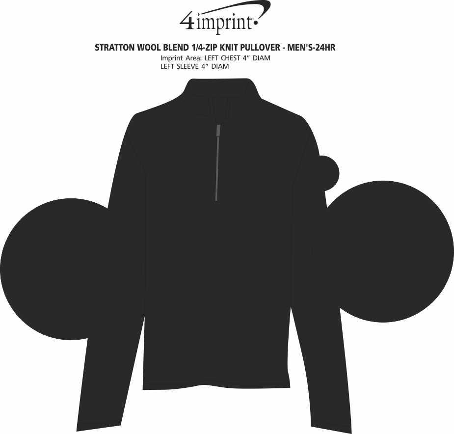 Imprint Area of Stratton Wool Blend 1/4-Zip Knit Pullover - Men's - 24 hr