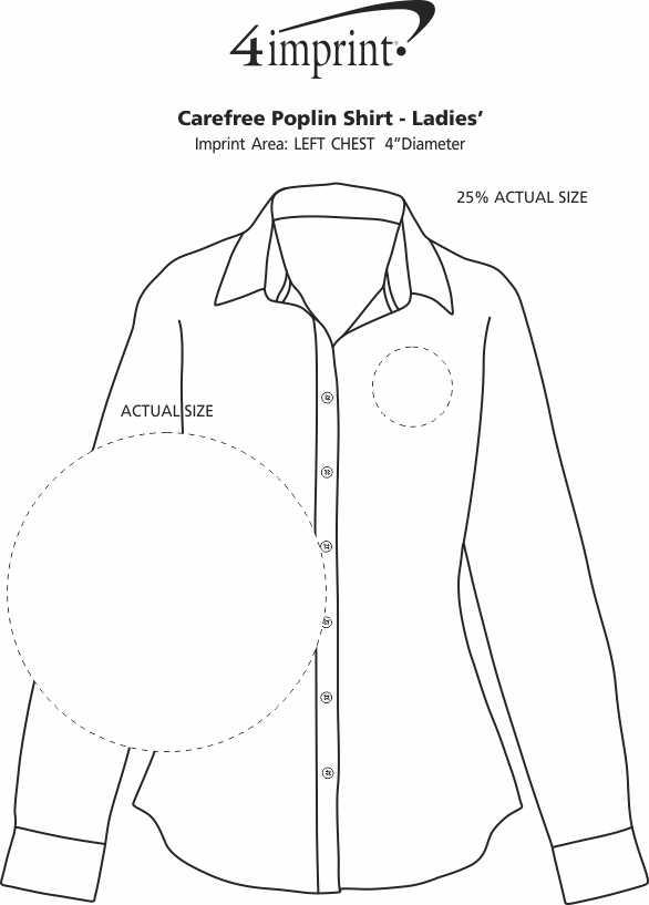 Imprint Area of Carefree Poplin Shirt - Ladies'