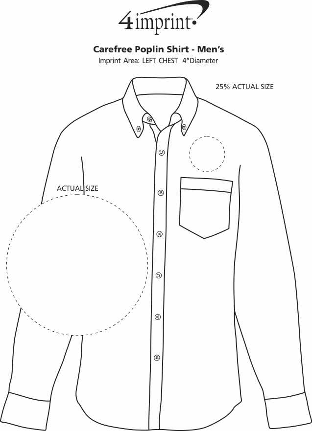 Imprint Area of Carefree Poplin Shirt - Men's