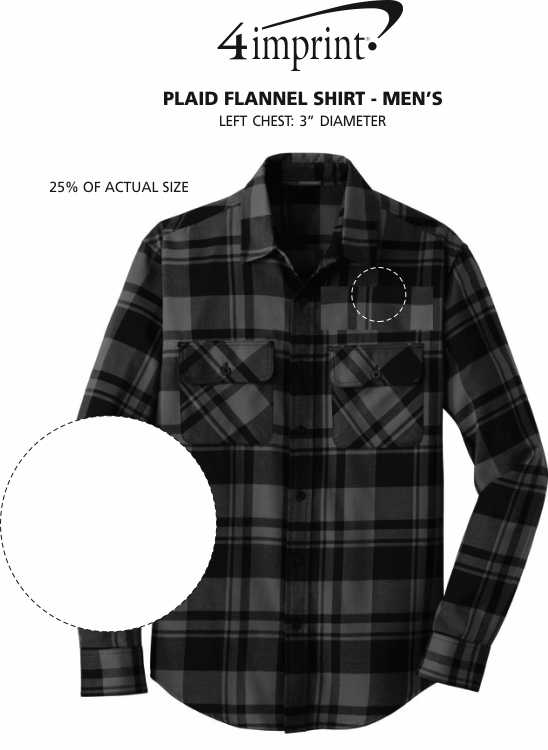 Imprint Area of Plaid Flannel Shirt - Men's