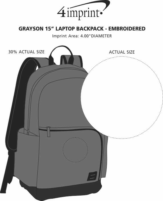 """Imprint Area of Grayson 15"""" Laptop Backpack - Embroidered"""