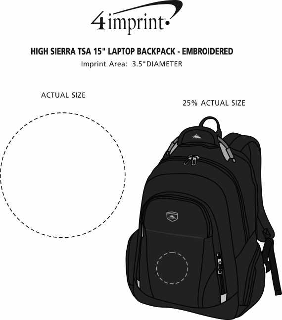 "Imprint Area of High Sierra TSA 15"" Laptop Backpack - Embroidered"