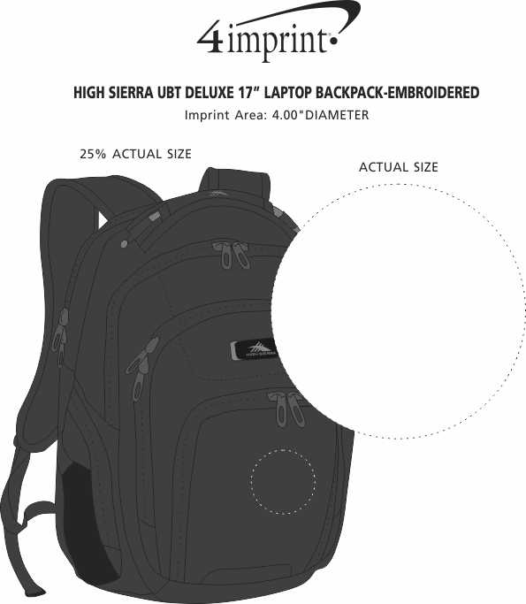 """Imprint Area of High Sierra UBT Deluxe 17"""" Laptop Backpack - Embroidered"""