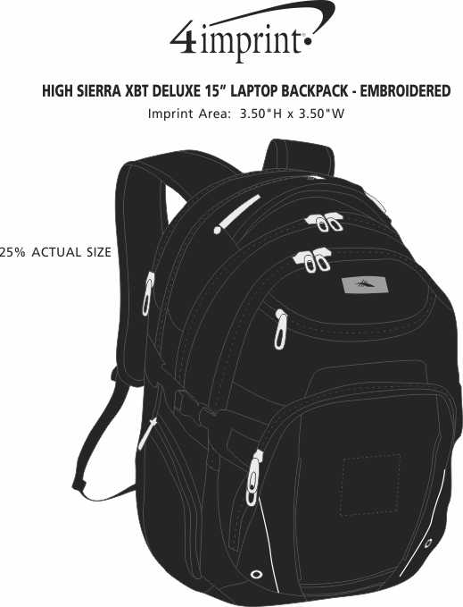 """Imprint Area of High Sierra XBT Deluxe 15"""" Laptop Backpack - Embroidered"""