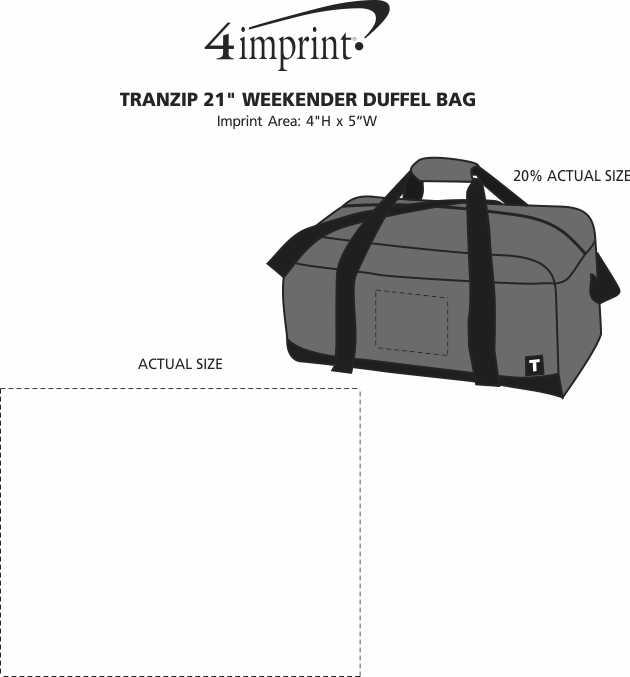 "Imprint Area of Tranzip 21"" Weekender Duffel Bag"