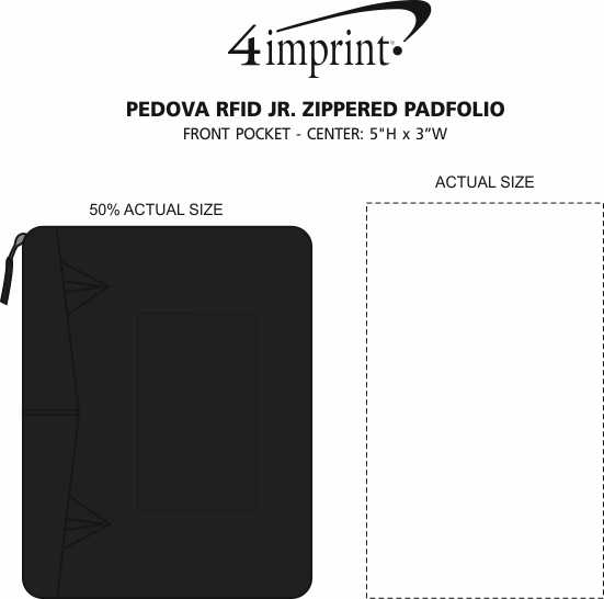 Imprint Area of Pedova RFID Jr. Zippered Padfolio