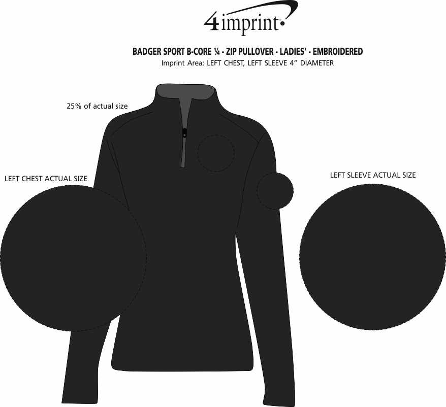 Imprint Area of Badger Sport B-Core 1/4-Zip Pullover - Ladies' - Embroidered