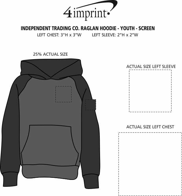 Imprint Area of Independent Trading Co. Raglan Hoodie - Youth - Screen
