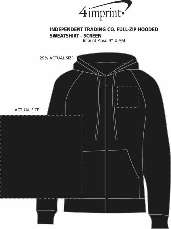 Imprint Area of Independent Trading Co. Full-Zip Hooded Sweatshirt - Screen