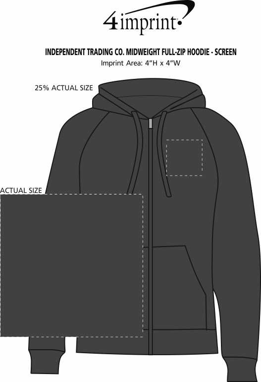 Imprint Area of Independent Trading Co. Midweight Full-Zip Hoodie - Screen
