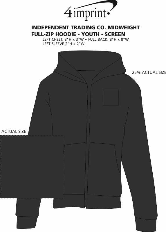 Imprint Area of Independent Trading Co. Midweight Full-Zip Hoodie - Youth - Screen