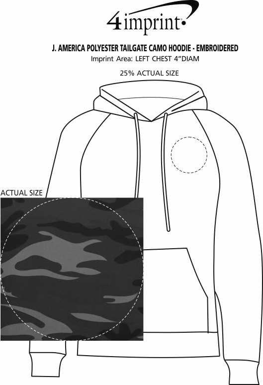 Imprint Area of J. America Polyester Tailgate Camo Hoodie - Embroidered