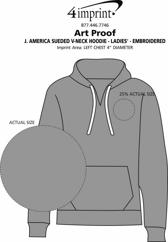 Imprint Area of J. America Sueded V-Neck Hoodie - Ladies' - Embroidered