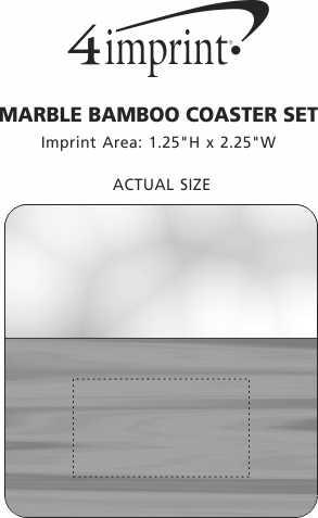 Imprint Area of Marble & Bamboo Coaster Set