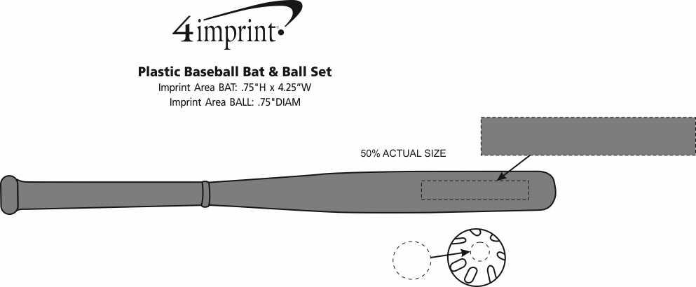 Imprint Area of Plastic Baseball Bat & Ball Set