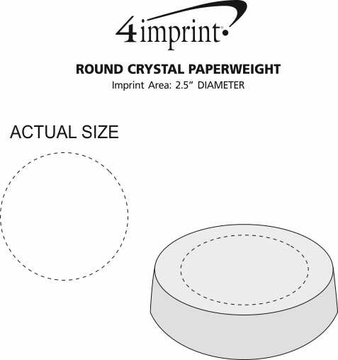 Imprint Area of Round Crystal Paperweight