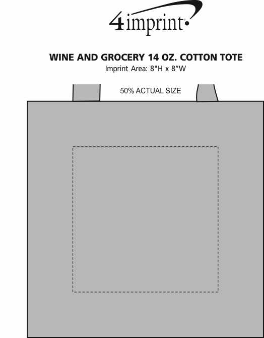 Imprint Area of Wine and Grocery 14 oz. Cotton Tote