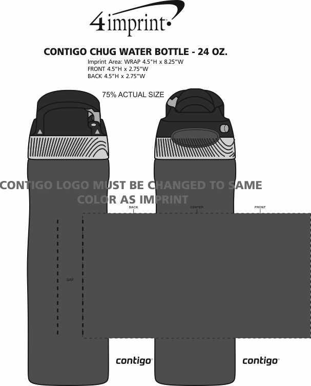 Imprint Area of Contigo Chug Water Bottle - 24 oz. - 24 hr