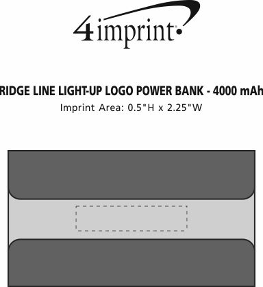 Imprint Area of Ridge Line Light-Up Logo Power Bank - 4000 mAh