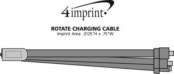 Imprint Area of Rotate Charging Cable Keychain