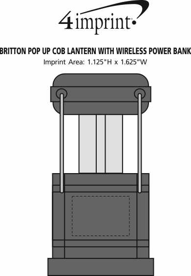 Imprint Area of Britton Pop Up COB Lantern with Wireless Power Bank