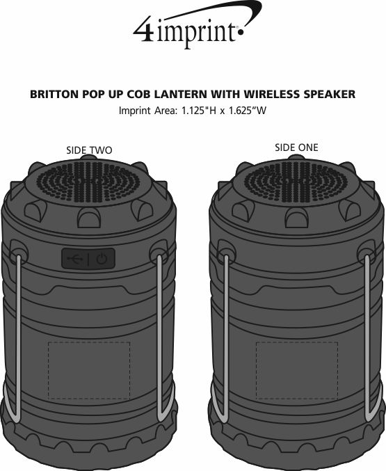 Imprint Area of Britton Pop Up COB Lantern with Wireless Speaker