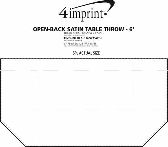 Imprint Area of Serged Open-Back Satin Table Throw - 6'