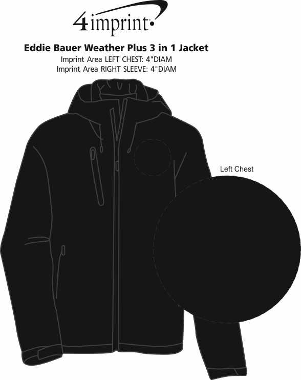 Imprint Area of Eddie Bauer Weather Plus 3-in-1 Jacket