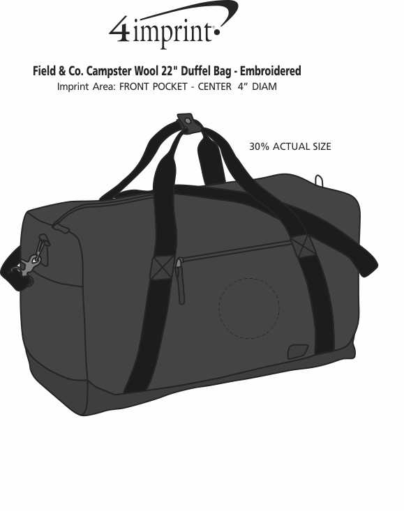 """Imprint Area of Field & Co. Campster Wool 22"""" Duffel Bag - Embroidered"""