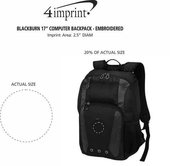 "Imprint Area of Blackburn 17"" Computer Backpack - Embroidered"