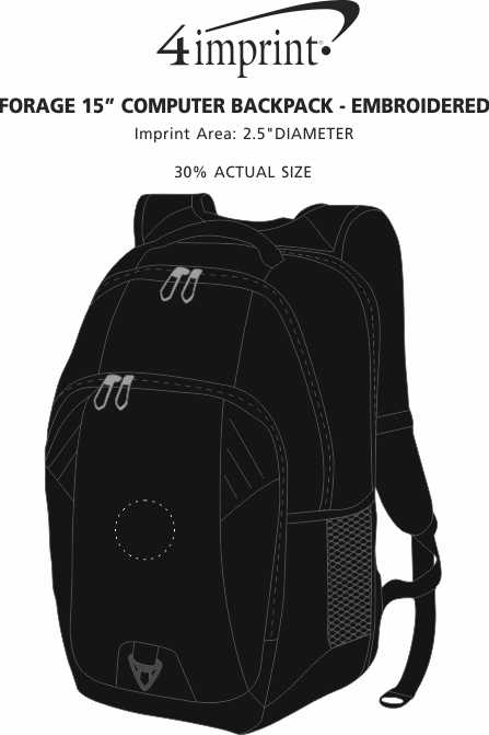 """Imprint Area of Forage 15"""" Computer Backpack - Embroidered"""