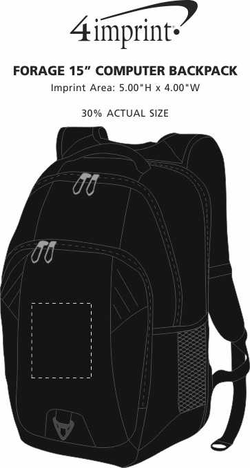 """Imprint Area of Forage 15"""" Computer Backpack"""