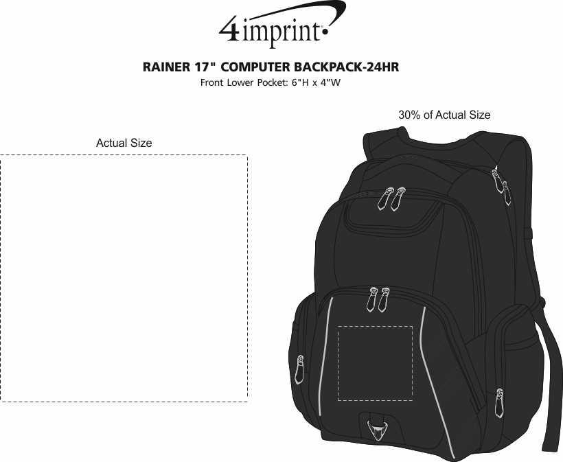 "Imprint Area of Rainier 17"" Laptop Backpack - 24 hr"