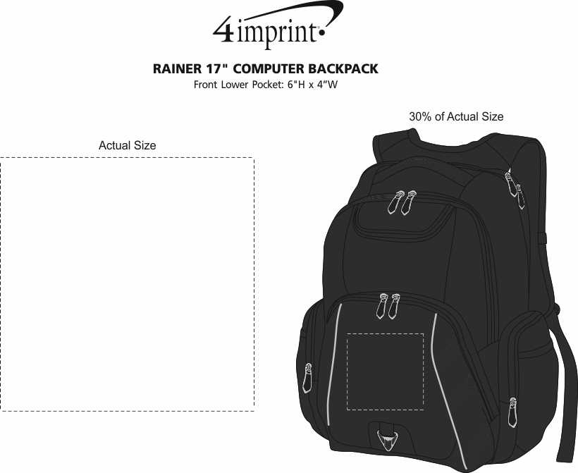 "Imprint Area of Rainier 17"" Laptop Backpack"