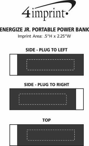 Imprint Area of Energize Jr. Portable Power Bank - 1800 mAh - 24 hr