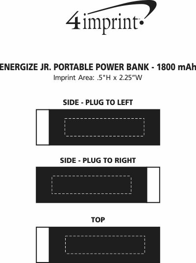Imprint Area of Energize Jr. Portable Power Bank - 1800 mAh