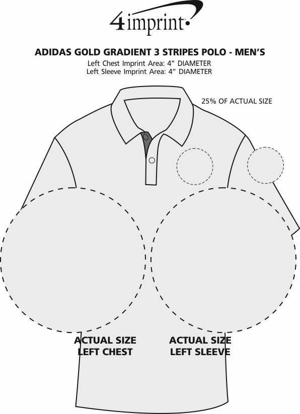 Imprint Area of adidas Golf Gradient 3 Stripes Polo - Men's
