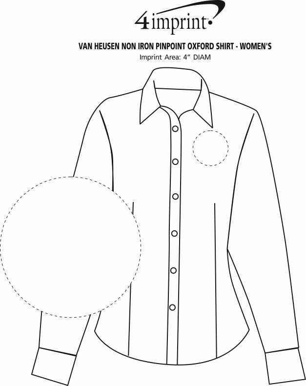 Imprint Area of Van Heusen Non Iron Pinpoint Oxford Shirt - Ladies'