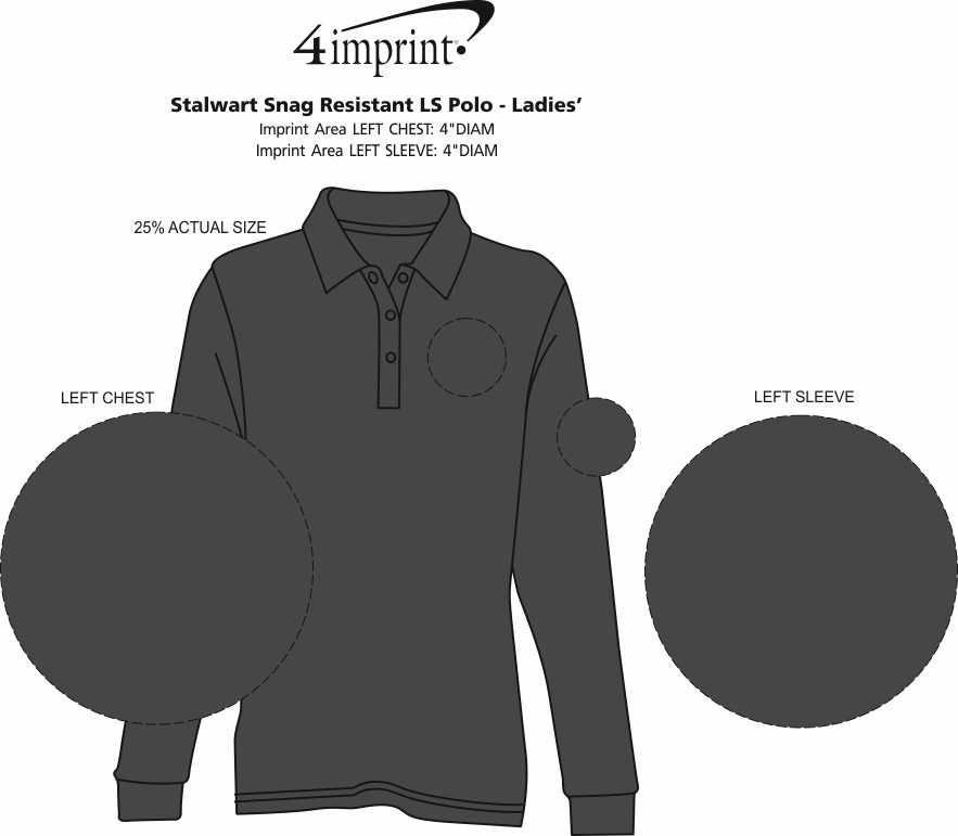 Imprint Area of Stalwart Snag Resistant LS Polo - Ladies'