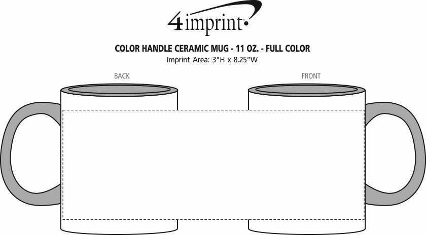 Imprint Area of Color Handle Ceramic Mug - 11 oz. - Full Color
