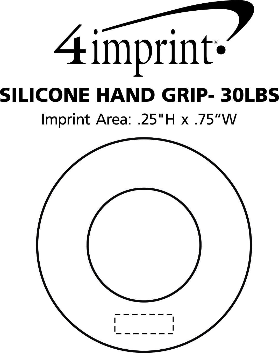 Imprint Area of Silicone Hand Grip - 30 lbs.