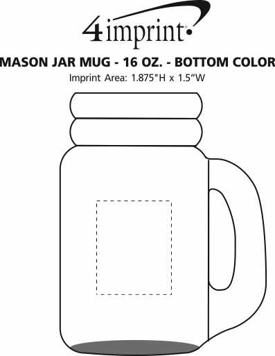 Imprint Area of Mason Jar Mug - 16 oz. - Bottom Color