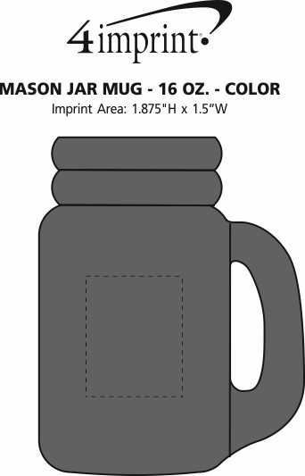 Imprint Area of Mason Jar Mug - 16 oz. - Color