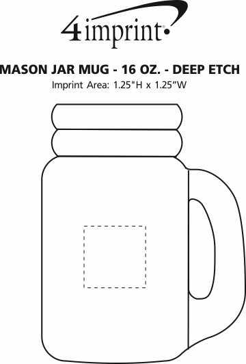 Imprint Area of Mason Jar Mug - 16 oz. - Deep Etch