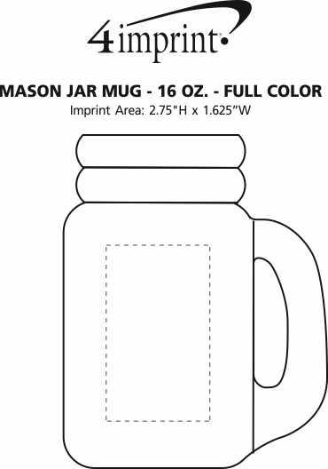 Imprint Area of Mason Jar Mug - 16 oz. - Full Color